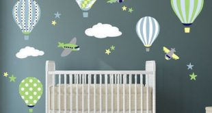 Balloon Decal, Plane Wall Stickers, Yellow Stars and White Clouds, boys nursery, toddler gifts, blue and Green Baby Shower, Yellow and Grey