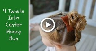 4 Twists With Center Messy Bun Toddler Hairstyle