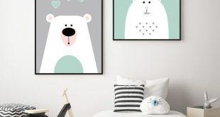"""Drucke & Plakate - Kinderzimmerbilder SET """"Bär und Kanninchen"""" A3 - ein Designe..."""