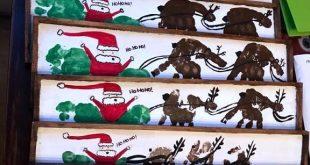 Handabdruck / Fußabdruck Santa Sleigh Wood Plank … was für ein süßes Weihnachtshandwerk