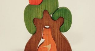 Waldorf wooden Tree with a Fox Wooden Puzzle ecofriendly educational Infant Learning toddler gift Handcrafted forest fairy tale SKU:t1041