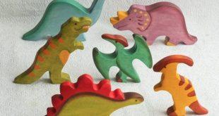 Wooden Dinosaurs Toy Set (6 items) Animal toys Waldorf wooden toys Motor Skills Ecofriendly educational toys toddler gift SKU:s1007