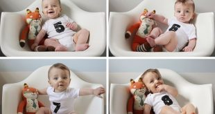 A collage of monthly baby photos, ideas for toddler photos