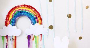 Entzückendes Regenbogen-Pappteller-Handwerk