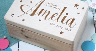Personalised New Baby Memory Box | Toddler Keepsake Box | Laser Engraved Wooden Box | New Baby Gift Or Christening Gift | Worldwide Shipping