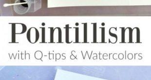 Pointillismus-Kunst für Kinder mit Q-Tipps und Aquarellen #aquarellen #kinder ...