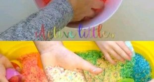 Rainbow Rice Sensory Bin DIY