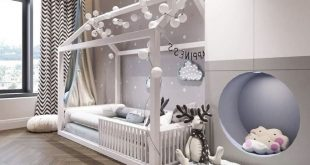 Toddler bed setup. White and cute, really comfortable and it makes your Child fe...